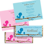 Baby birds theme bridal shower invitations and favors