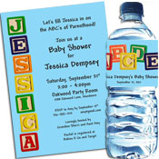 Building blocks theme baby shower invitations and favors