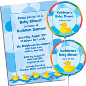 Baby ducks theme baby shower invitations, favors and decorations