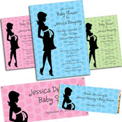 Pregnant mom theme baby shower invitations and favors