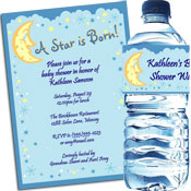 Moon and Stars theme baby shower invitations and favors
