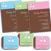 Stork theme baby shower invitations and favors