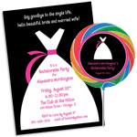 Bridal dress theme bachelorette theme invitations and favors