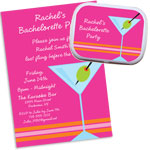 Martini theme bachelorette theme invitations and favors