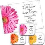 Daisy theme bridal shower invitations and favors