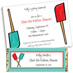 Kitchen bridal shower theme invitation, party favors