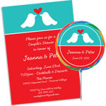 Lovebirds theme bridal shower invitations and favors