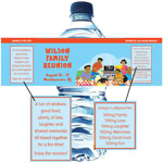 Family reunion theme water labels