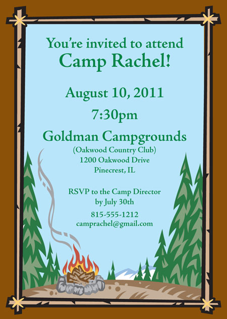 personalized camping theme invitation