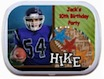 personalized football theme mint and candy tin