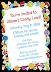 personalized candy theme invitation