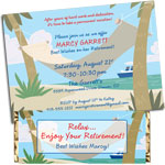 Retirement party hammock theme invitations and favors