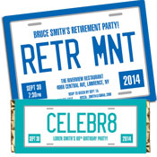 Retirement party license plate theme invitations and favors