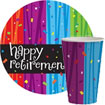 retirement party supplies, paper plates, cups, napkins