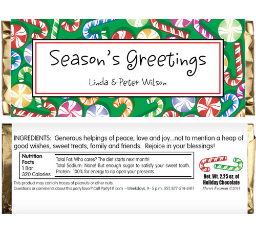 Christmas Candy Theme Candy Bar Wrapper