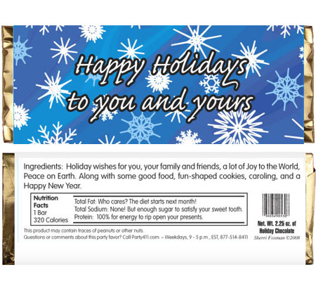 Winter Snow Theme Candy Bar Wrapper / Personalize your Holiday party with these theme candy bars