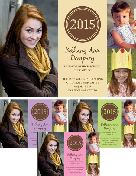 Graduation Photo Announcement, Pastel / Celebrate your graduate's achievement with three photos on this custom graduation announcement.