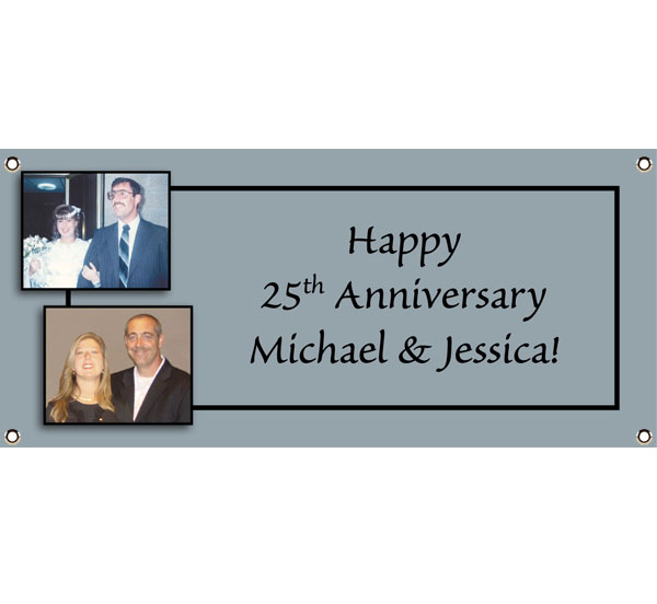 "25th Anniversary Theme Banner / This is a big event. Worthy of a banner with the ""bride and groom""."
