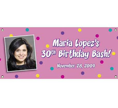 Pink Dots Photo Banner / Polka dots and a photo make this birthday banner extra special!