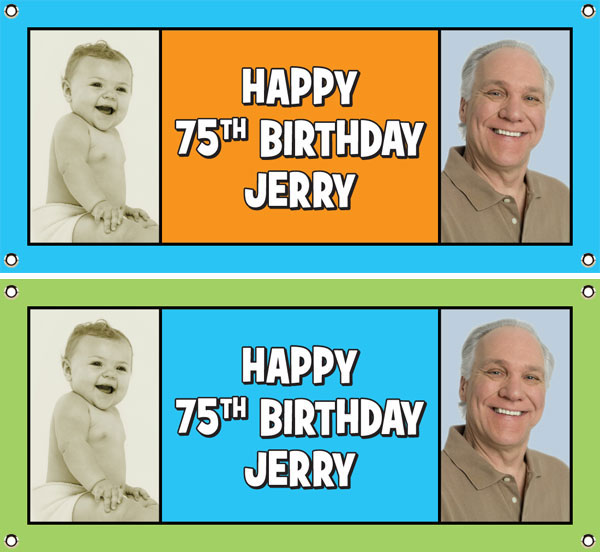 Birthday Double Photo Blue Theme Banner