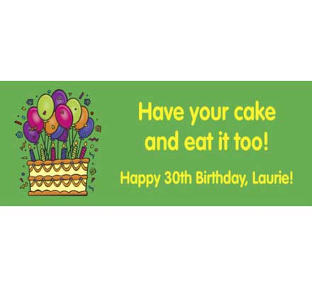 Cake on your Birthday Theme Banner / Celebrate with a banner sized cake!