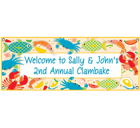 Clambake Theme Banner / This seafood banner is a great way to decorate for your clam bake and seafood party!