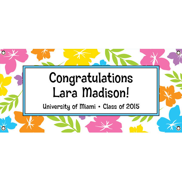 Graduation Luau Hibiscus Theme Banner / Welcome your guests to a graduation luau with a colorful luau banner!