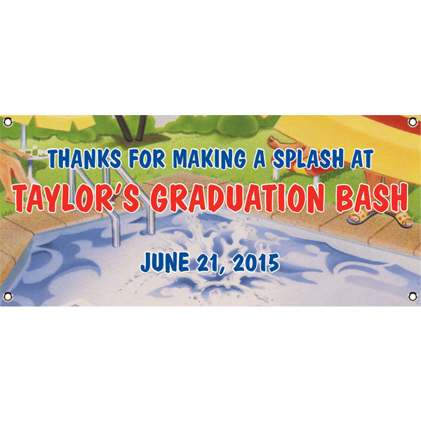 Graduation Pool Theme Banner / Make your graduation bash a splash with this pool party graduation banner!