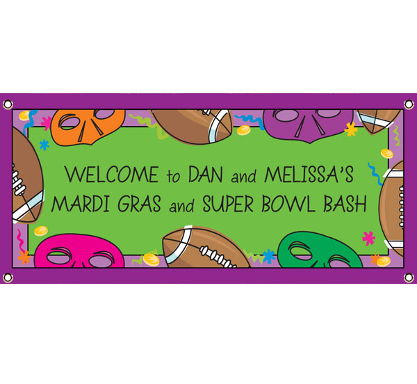 Mardi Gras Theme Super Bowl Banner / A Mardi Gras theme banner is great for a Super Bowl or football party