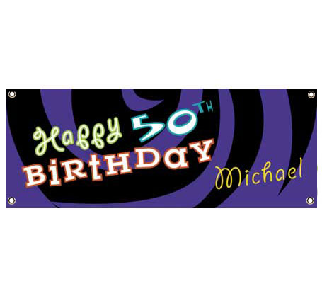 Birthday Swirl Theme Banner