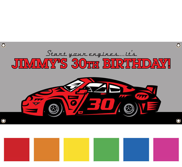 Race Car Party Theme Banner / Picture yourself in the winner's circle with this racing banner!