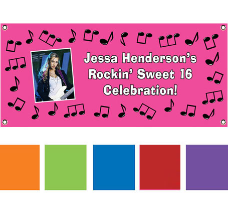 Rock n Roll Theme Pink Banner / Welcome everyone to her rock 'n roll theme party