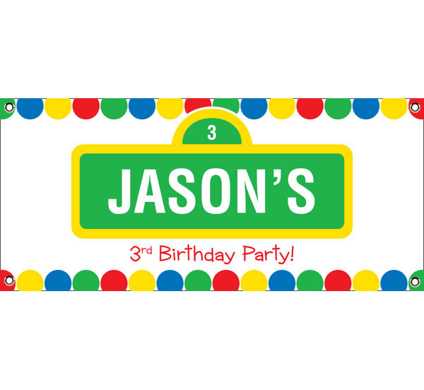 Birthday Sesame Street Theme Banner / A fun Sesame Street inspired banner is great to welcome your guests