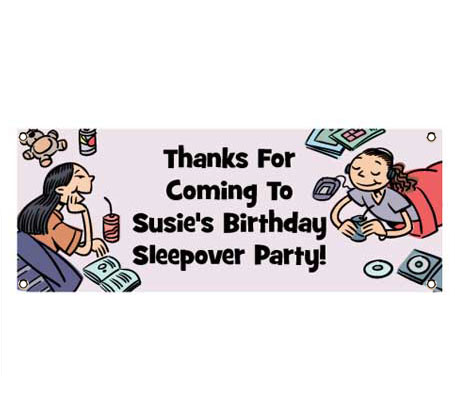 Sleepover Friends Theme Banner / Let them know they'll be playing games all night with this sleepover banner!