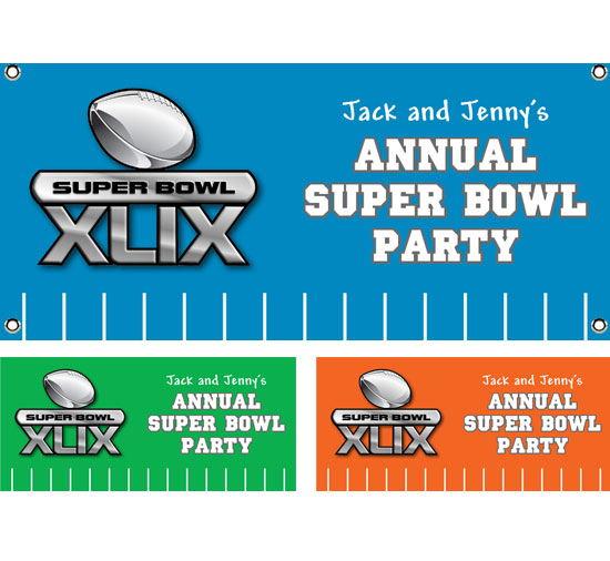 2015 Super Bowl XLIX Theme Banner / Right on the field for the Super Bowl, this football banner brings it to you cheap!