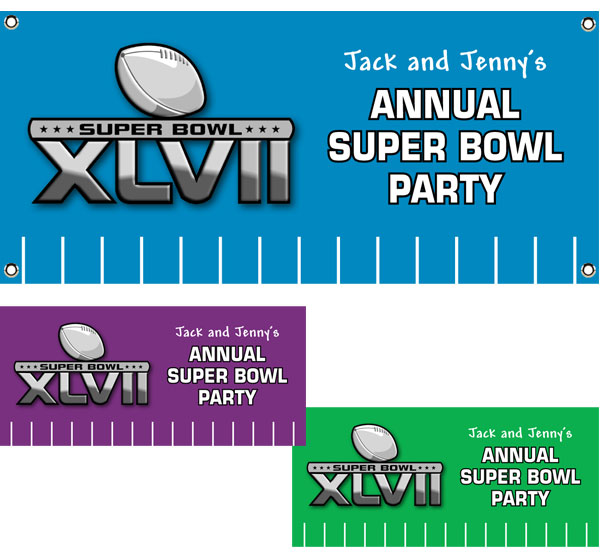 2013 Super Bowl XLVII Theme Banner / Right on the field for the Super Bowl, this football banner brings it to you cheap!