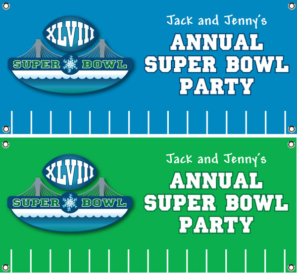 2014 Super Bowl XLVIII Theme Banner / Right on the field for the Super Bowl, this football banner brings it to you cheap!
