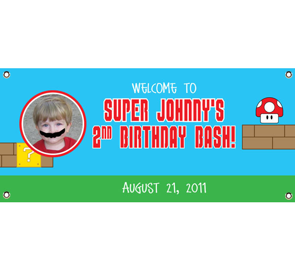 Birthday Super Mario Brothers Theme Banner / A fun Mario Brother's inspired banner is great to welcome your guests