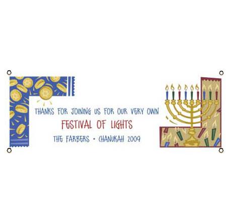 Chanukah Symbols Theme Banner