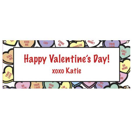 Valentine's Day Candy Hearts Theme Banner
