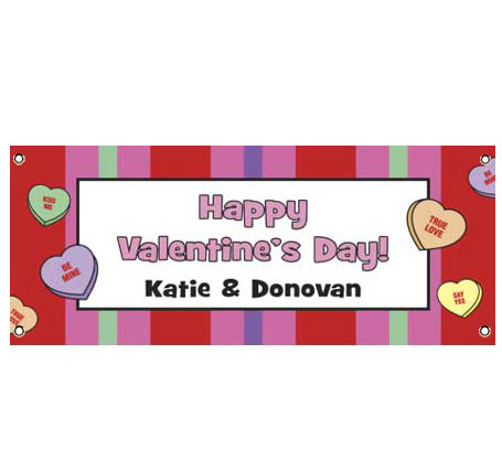 Personalized Valentine's Day theme party banner.