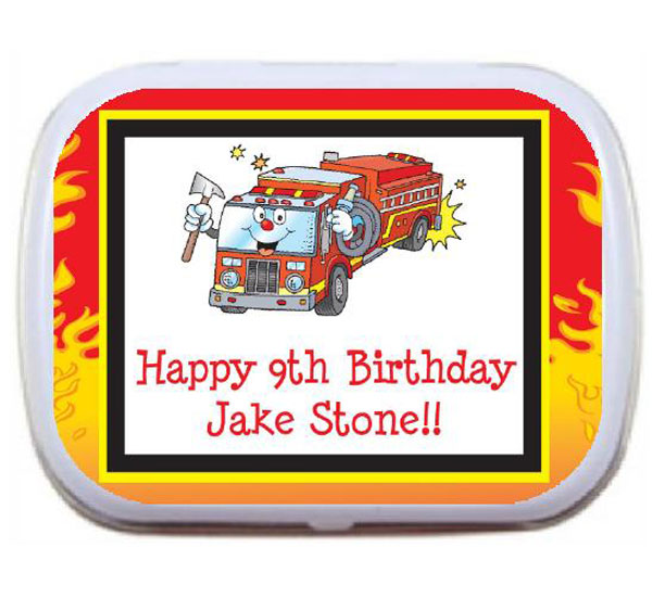 Firefighter Truck Mint Tin / A sweet boy's birthday party favor for your little hero.
