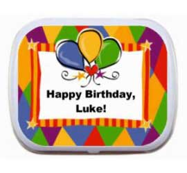 Birthday Bright Balloons Mint Tin / A bright and fun birthday party favor