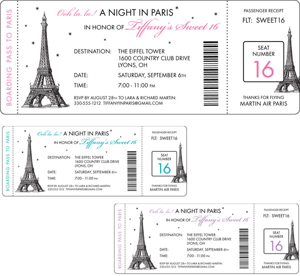 Paris Party Boarding Pass Invitation