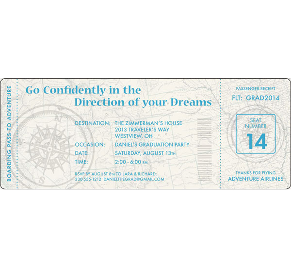 Graduation Travel Boarding Pass Invitation