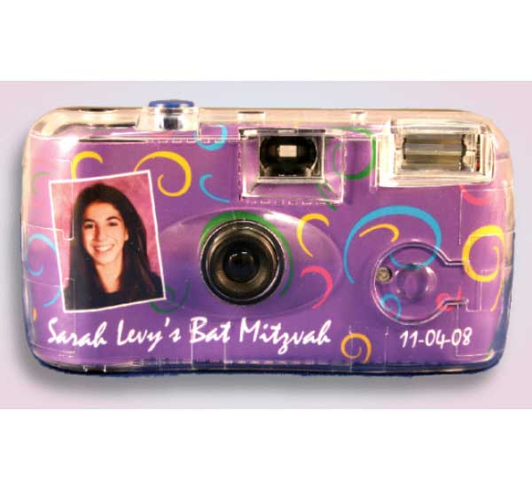 Purple Swirls Camera / Let your guests capture those special moments at the bat mitvah.