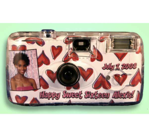Red and Pink Hearts Camera / Sweet 16 comes once. Capture the moment!