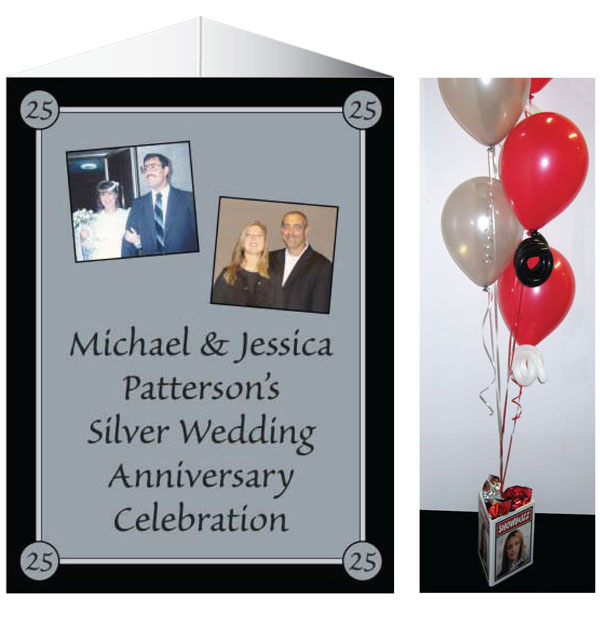 25th Anniversary Theme Centerpiece / The perfect centerpiece for your silver anniversary celebration.