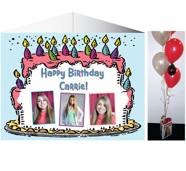 Put the birthday girl's photo on each side and accent your Sweet 16