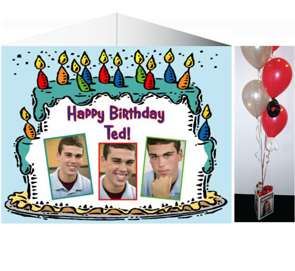 Birthday Cake For Him Photo Centerpiece / Ask the guest of honor to have a seat at every table